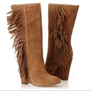 MIA Flirty fringe Brown Suede Leather Boots 9M